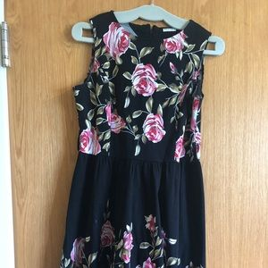 Black and pink flowered dress